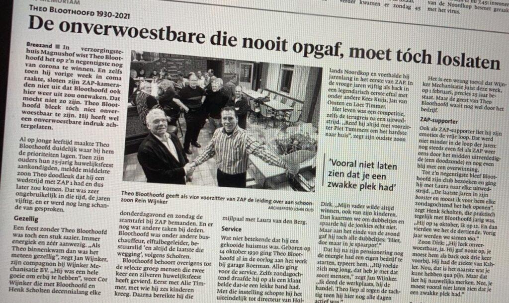 In Memoriam necrologie Theo Bloothoofd